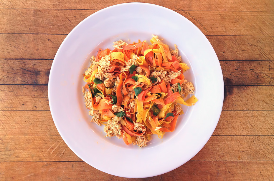 Slow-cooked orange chicken recipe:  Rainbow ribbon carrot pasta