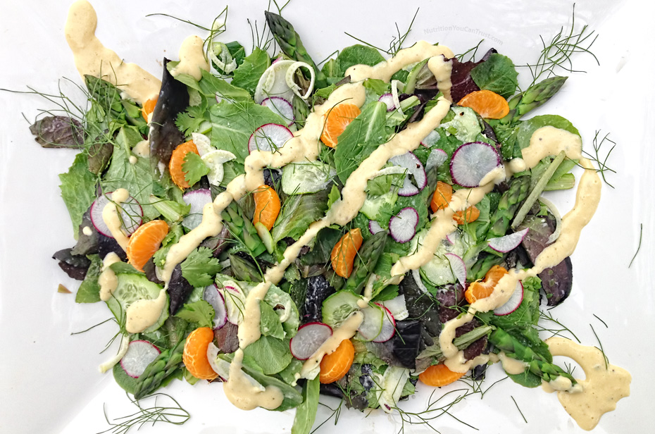 Beautiful Spring Salad Flavors with a Mandarin-Tahini or Citrus-Mango Tahini Dressing