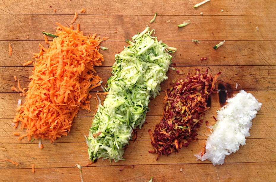 Rainbow Latkes with Cumin Crema & Apple Sauce