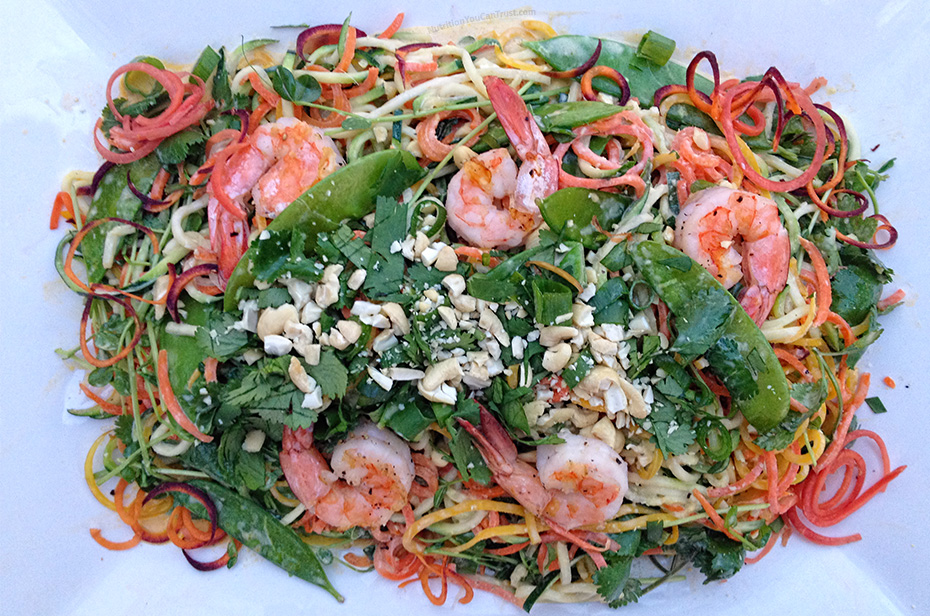 Shrimp Pad Thai with Veggie Rainbow Noodles - plated