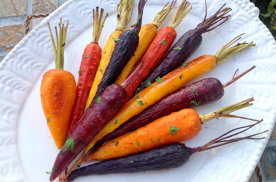Roasted Garlic Maple Rainbow Carrots - plated