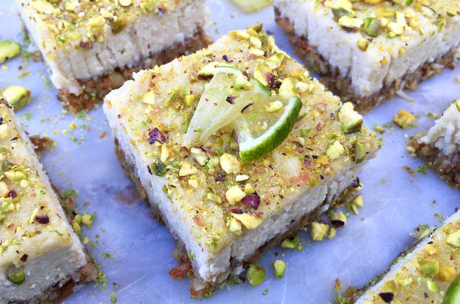 pistachio lime cheesecake - raw paleo vegan